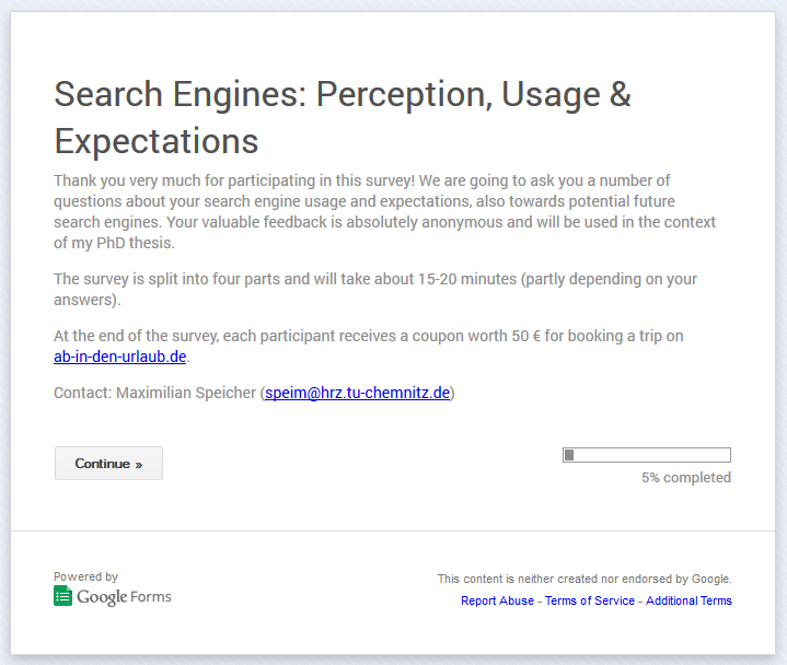 Survey: Search Engines – Perception, Usage & Expectations