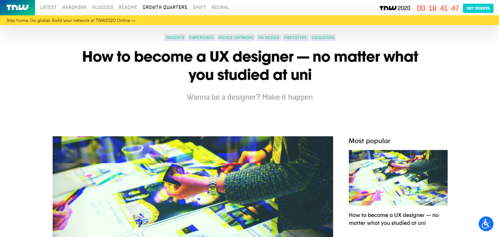 "Screenshot of my The Next Web Article ""How to become a UX designer — no matter what you studied at uni"""