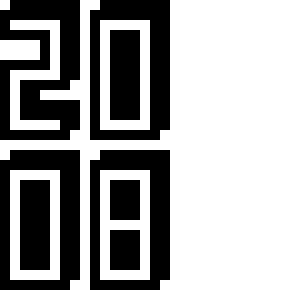 The number 2008 in pixel art with a drop shadow.