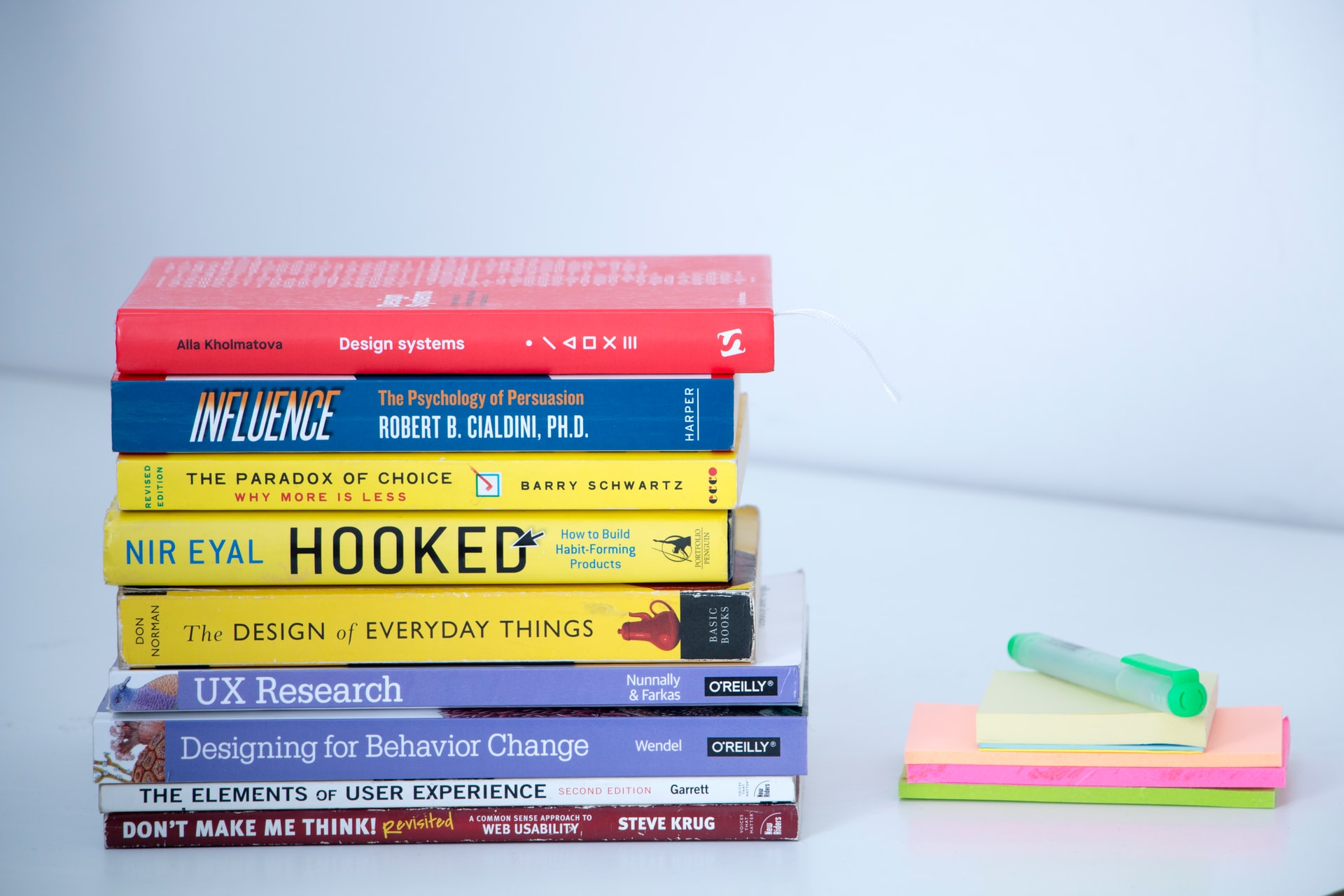 A pile of books about design, usability, and user experience.